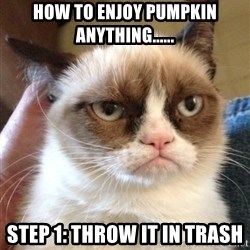 Grumpy Cat 2 - How to enjoy pumpkin anything...... Step 1: Throw it in trash