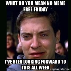 crying peter parker - what do you mean no meme free friday i've been looking forward to this all week