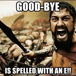 This Is Sparta Meme - good-bye is spelled with an e!!