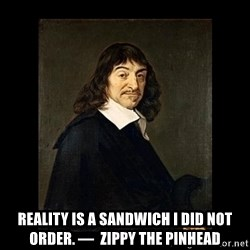 Rene Descartes -  Reality is a sandwich I did not order. —  Zippy the Pinhead