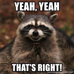 evil raccoon - Yeah, Yeah That's right!
