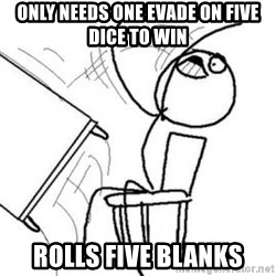 Flip table meme - Only needs one evade on five dice to win Rolls five blanks