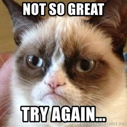 Angry Cat Meme - Not So Great Try Again...