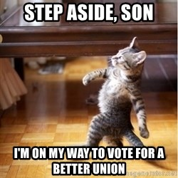 walking cat - step aside, son I'm on my way to vote for a better union