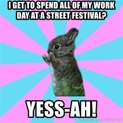 yAy FoR LifE BunNy - I get to spend all of my work day at a street festival? YESS-AH!