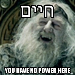 you have no power here - חיים you have no power here