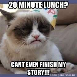 Birthday Grumpy Cat - 20 minute lunch?  cant even finish my story!!!