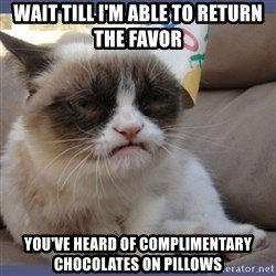Birthday Grumpy Cat - Wait till I'm able to return the favor you've heard of complimentary chocolates on pillows