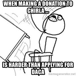 Flip table meme - When making a donation to chirla ... is harder than applying for daca