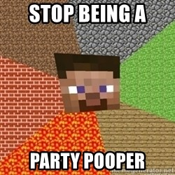 Minecraft Steve - stop being a  party pooper