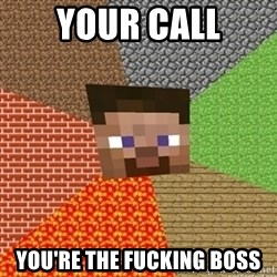 Minecraft Steve - YOUR CALL YOU'RE THE FUCKING BOSS