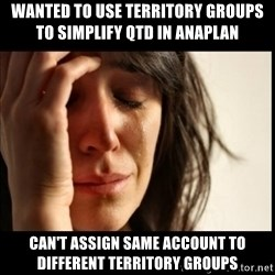 First World Problems - wanted to use territory groups to simplify QTD in Anaplan can't assign same account to different territory groups