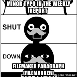 Shut Down Everything - Minor typo in the weekly report FileMaker paragraph (FileMarker)
