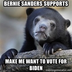 Confessions Bear - bernie sanders supports make me want to vote for biden