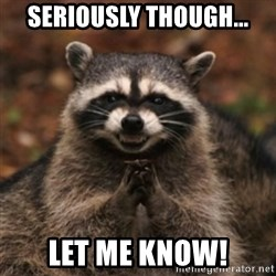 evil raccoon - Seriously though... let me know!