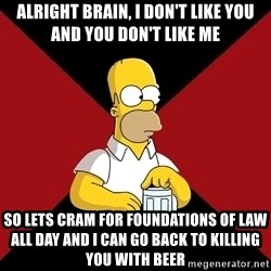 Homer Jay Simpson - Alright Brain, I don't like you and you don't like me So lets cram for foundations of law all day and I can go back to killing you with beer
