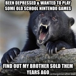 Insane Confession Bear - Been Depressed & wanted to play some old school nintendo games Find out my brother sold them years ago