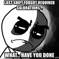 You, what have you done? (Draw) - last shift forgot required calbrations... what... have you done