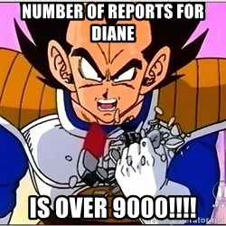 Over 9000 - Number of Reports for Diane is over 9000!!!!