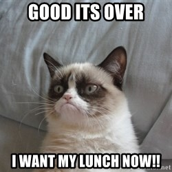 Grumpy cat good - Good its over I want my lunch now!!