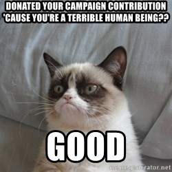 Grumpy cat good - Donated your campaign contribution 'cause you're a terrible human being?? GOOD