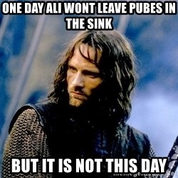 Not this day Aragorn - one day Ali wont leave pubes in the sink BUT IT IS NOT THIS DAY