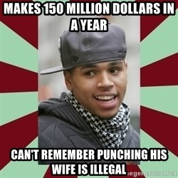 chris brown - Makes 150 million dollars in a year Can't remember punching his wife is illegal