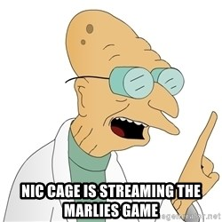 Good News Everyone -  Nic Cage is streaming the Marlies game