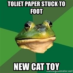 Foul Bachelor Frog - Toliet Paper Stuck to foot new cat toy