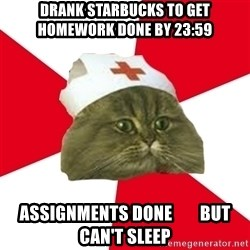 Nursing Student Cat - Drank starbucks to get homework done by 23:59 assignments done        but can't sleep