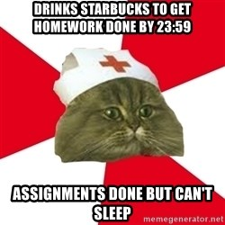 Nursing Student Cat - drinks starbucks to get homework done by 23:59 assignments done but can't sleep