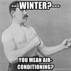 overly manly man - ---Winter?--- You mean air-conditioning?
