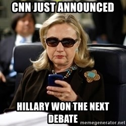 Hillary Clinton Texting - CNN JUST ANNOUNCED  HILLARY WON THE NEXT DEBATE