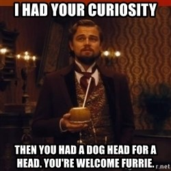 you had my curiosity dicaprio - I HAD YOUR CURIOSITY THEN YOU HAD A DOG HEAD FOR A HEAD. YOU'RE WELCOME FURRIE.