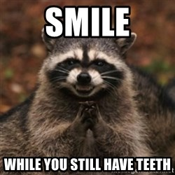 evil raccoon - SMILE while you still have teeth