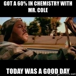 Ice Cube- Today was a Good day - Got a 60% in chemistry with Mr. COle TOday was a good day