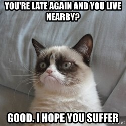 Grumpy cat good - you're late again and you live nearby? good. i hope you suffer