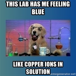 Chemistry Dog - THIS LAB HAS ME FEELING BLUE LIKE COPPER IONS IN SOLUTION