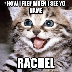 HAPPY KITTEN - How I feel when I see yo name Rachel