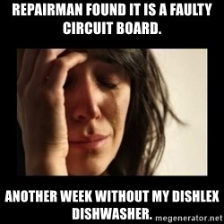 todays problem crying woman - Repairman found it is a Faulty circuit board.  another week without my dishlex dishwasher.