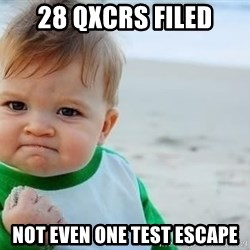 fist pump baby - 28 QXCRs filed not even one test escape