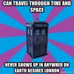 TARDIS Doctor Who - Can travel through time and space never shows up in anywher on earth besides london
