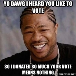 XZIBITHI - Yo Dawg I heard you like to vote So I donated so much your vote means nothing
