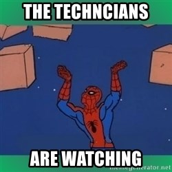 60's spiderman - the techncians  are watching