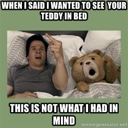 Ted Movie - when i said i wanted to see  your teddy in bed this is not what i had in mind