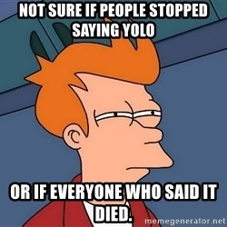 Futurama Fry - Not sure if people stopped saying YOLO  or if everyone who said it died.