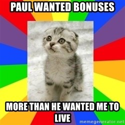 Cute Kitten - Paul wanted bonuses More than he wanted me to live
