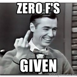 Mr Rogers gives the finger - Zero F's given