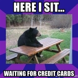 waiting bear - HERE I SIT... WAITING FOR CREDIT CARDS