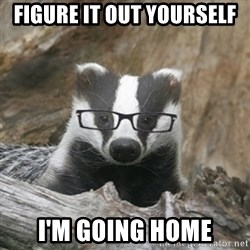 Nerdy Badger - figure it out yourself i'm going home